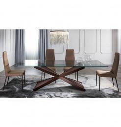 Table à manger verre et marron