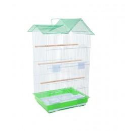 Cage d'oiseau blanche verte