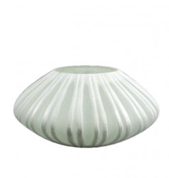 Vase strié blanc rond