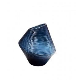 Vase strié en verre bleu