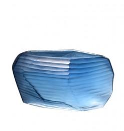Vase strié bleu