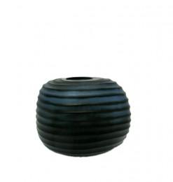 Vase en verre strié rond