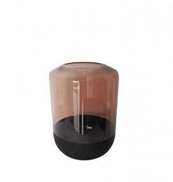 Vase en verre noir fumé