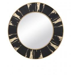 Miroir rond noir or
