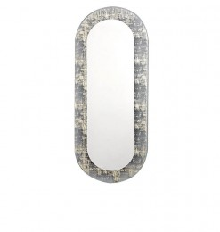 Miroir oval en or
