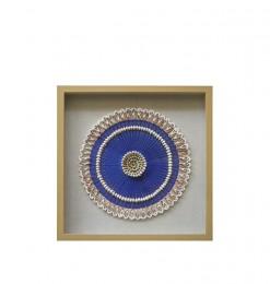 Tableau coquillage blanc bleu