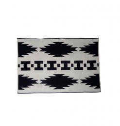 Tapis rectangle noir blanc