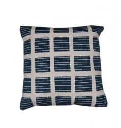 Coussin déco motif carré bleu