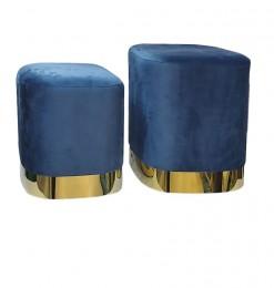 Pouf velours bleu (x2)