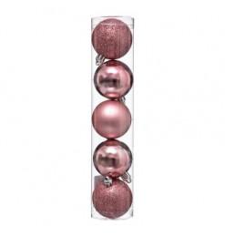 Boule de noël (x5) rose 50mm