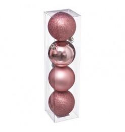 Boule de noël (x4) rose 80mm