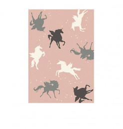Tapis 120x170cm rose licornes