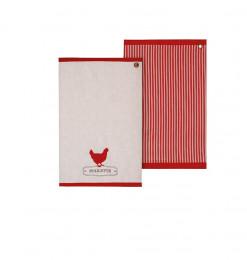 Torchon motif poule rouge