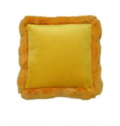 Coussin déco jaune moutarde