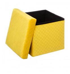 Pouf pliable velours jaune...