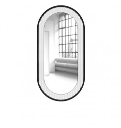 Miroir oval métal noir