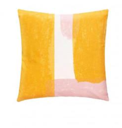 Coussin déco jaune rose